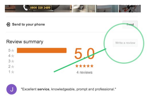 Submitting a review on Google