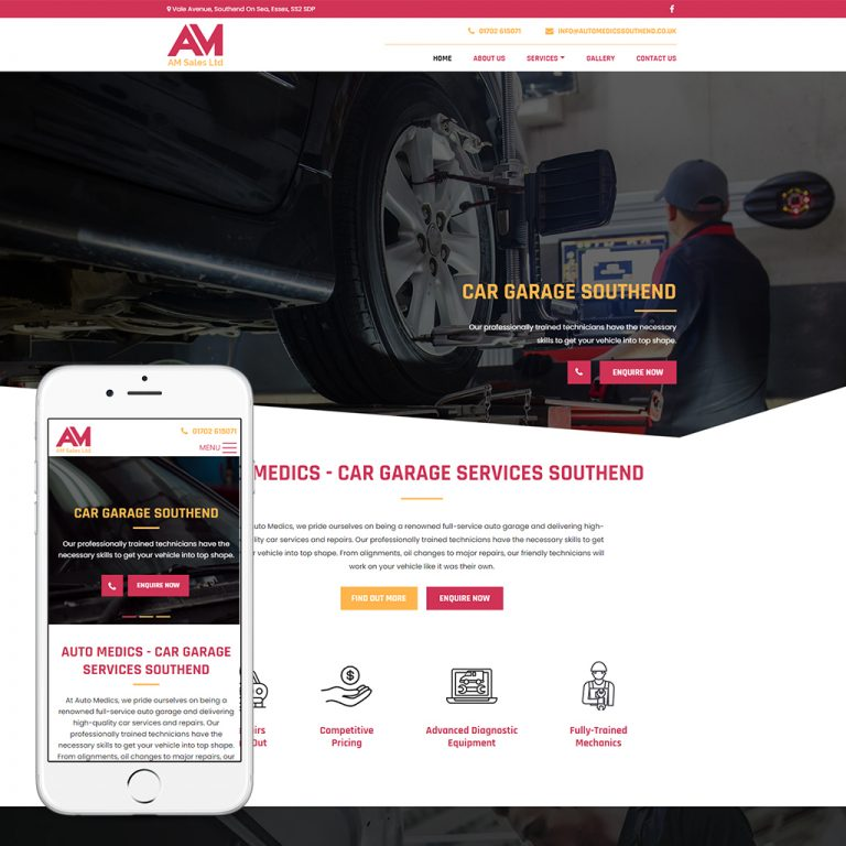car garage website design